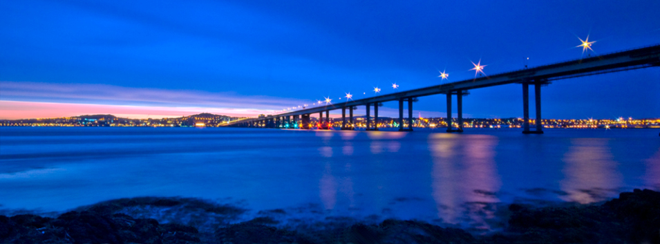tay bridge at night