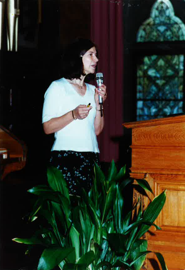 Tricia giving a lecture in Marburg, Germany at conference on phosphatases  2001