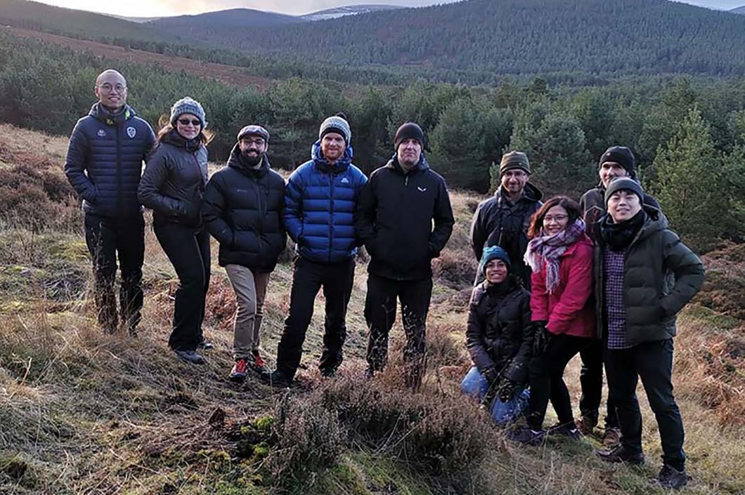 Karim's group in the Caledonian forest at Glen Tanar, 60 miles north of Dundee, on a lab retreat on 11th December 2019