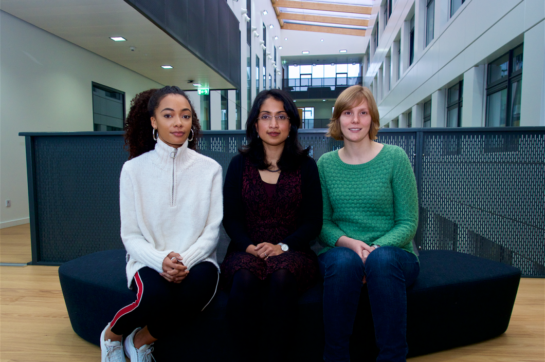 From the left: Olivia James, Mahima Swamy, Maud Vandereyken